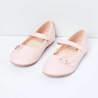 MAX Solid Mary Janes with Floral Applique