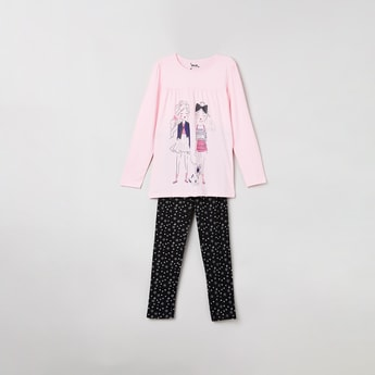 MAX Printed Full Sleeves T-shirt with Leggings
