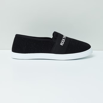 MAX Typographic Print Textured Slip-On Shoes