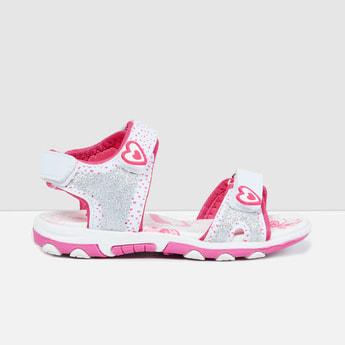 MAX Glittered Velcro-Strap Sandals
