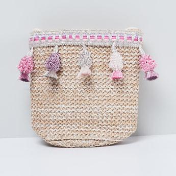 MAX Basket Weave Tasselled Sling Bag