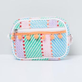 MAX Patterned Bobble Trim Zip-Closure Sling Bag
