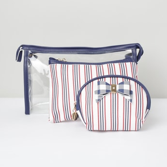 MAX Striped Transparent Pouches - Set of 2