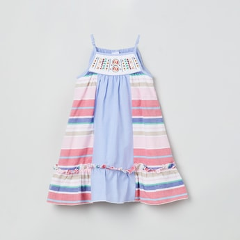 MAX Striped Sleeveless A-line Dress