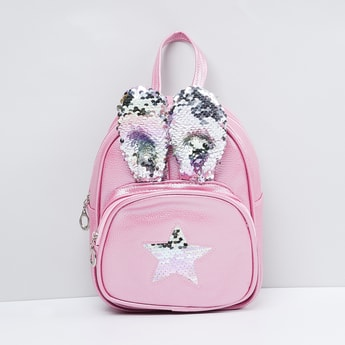 MAX Sequinned Bunny-Ears Zip-Closure Backpack