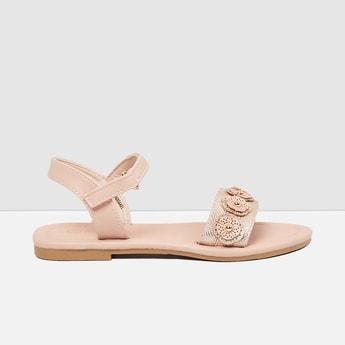 MAX Floral Applique Open Toed Flat Sandals