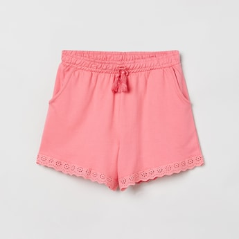 MAX Schiffli Embroidery Shorts with Scoop Pockets