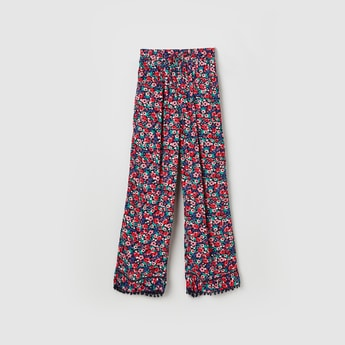 MAX Floral Print Palazzo Pants with Bobble Trim