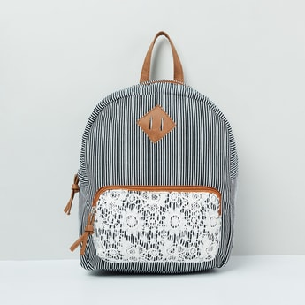 MAX Striped Backpack with Floral Embroidery