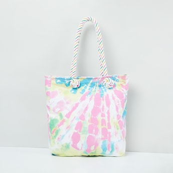 MAX Tie and Dye Tote Bag with Textured Straps