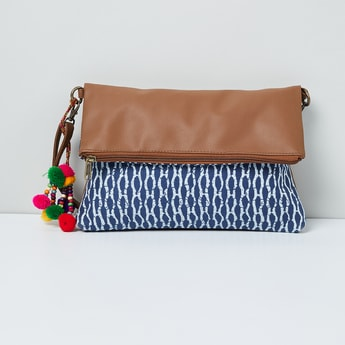 MAX Printed Sling Bag with Pompoms