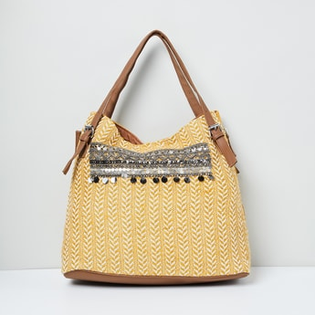 MAX Herringbone Pattern Weave Sequinned Hobo Bag