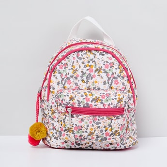 MAX Floral Print Backpack with Pompoms