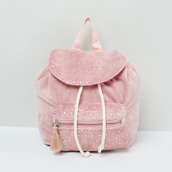 MAX Foil Print Backpack with Front Pocket and Tassel Charm