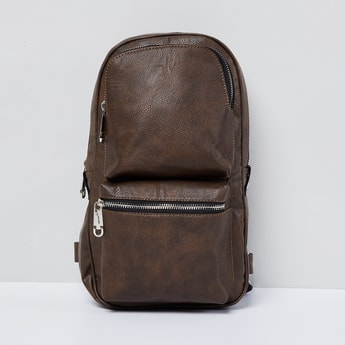 MAX Textured Backpack with Zip Pockets