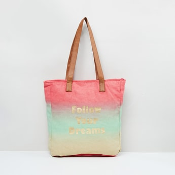 MAX Typographic Print Ombre-Dyed Tote Bag