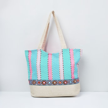 MAX Printed Tote Bag with Mirror Work