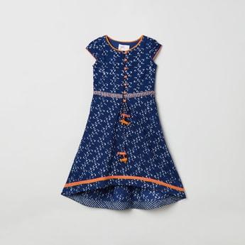 MAX Printed A-line Maxi Dress with Asymmetric Hemline
