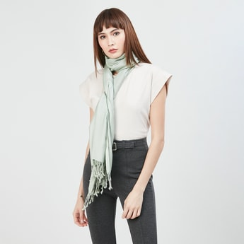 MAX Printed Tassel Detailed Scarf