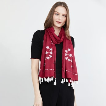 MAX Embroidered Tassel Trim Scarf