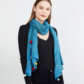 MAX Embroidered Tassel Detailed Scarf