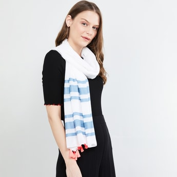 MAX Striped Tassel Trim Scarf