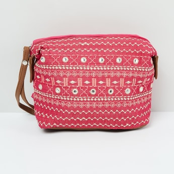 MAX Embroidered Pouch with Mirror Accents