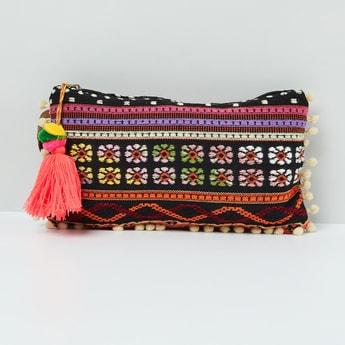 MAX Embroidered Tassel Detailed Pouch With Wrist Loop