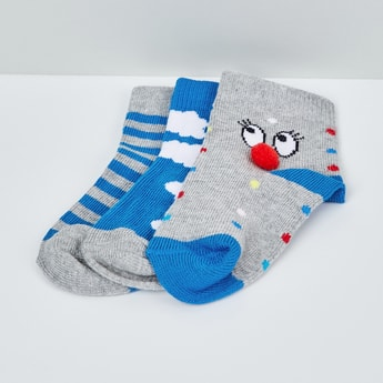 MAX Patterned Knit Ankle Socks - Pack of 3 - 1-2Y