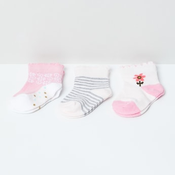 MAX Patterned Ankle-Length Socks - Pack of 3 - 0-6M