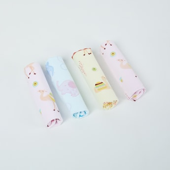 MAX Printed Cotton Face Towels - Pack of 4