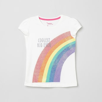MAX Graphic Print Puffed Sleeves T-shirt