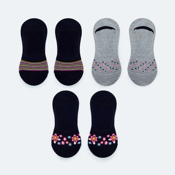 MAX Patterned No-Show Socks - Set of 3
