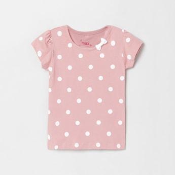 MAX Polka-Dot Print T-shirt with Bow