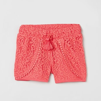 MAX Floral Pattern Lace Design Shorts