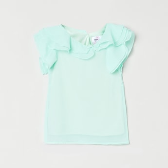 MAX Solid Ruffle Detail Top