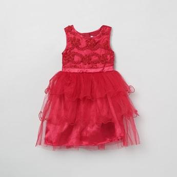 MAX Rosette Appliqued Sleeveless Tulle Dress