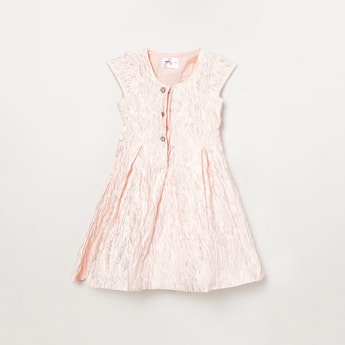 MAX Textured A-line Dress with Tie-Up Bow