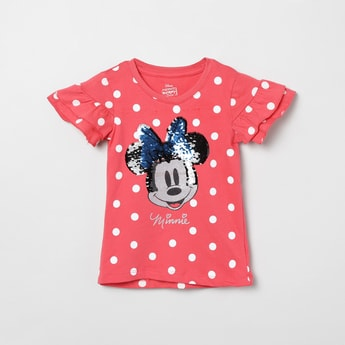 MAX Minnie Mouse Print Sequinned Top