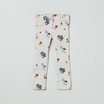 MAX Floral Print Full-Length Trousers