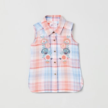 MAX Checked Sleeveless Shirt with Floral Embroidery