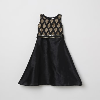 MAX Foil Print A-line Dress with Mirror Work