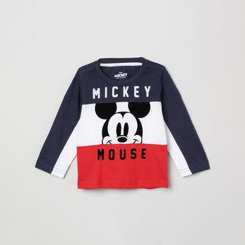 MAX Mickey Mouse Print Colourblock T-shirt
