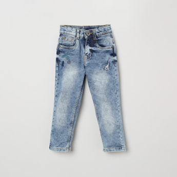 MAX Heavily Washed Slim Fit Jeans with Embroidery