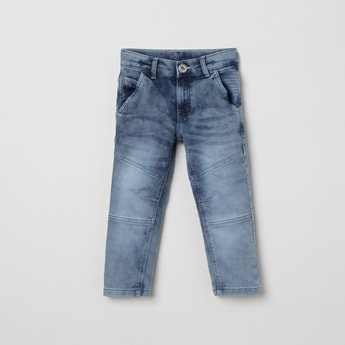 MAX Heavily Washed Slim Fit Jeans with Darts