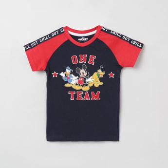 MAX Mickey & Friends Print T-shirit with Raglan Sleeves