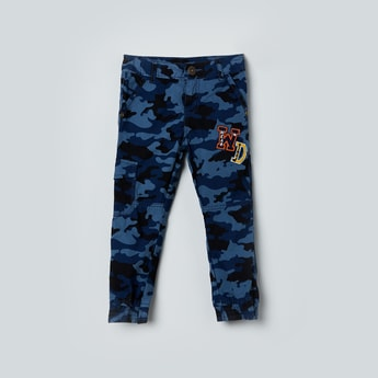 MAX Camouflage Print Joggers with Applique