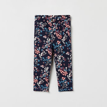 MAX Floral Print Pants with Scoop Pockets