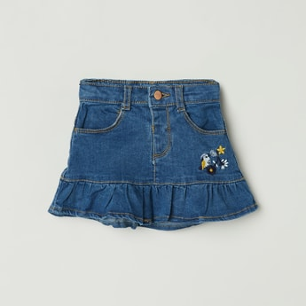 MAX Embroidered Denim Skirt