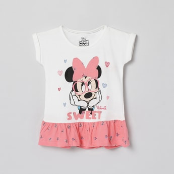 MAX Minnie Mouse Print Panelled Top